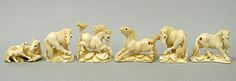International Arts and Crafts -- Netsuke Animal 2 mammoth and hippo ivory carvings, netsuke, jewelry