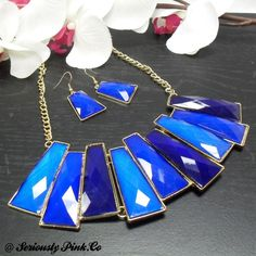 If blue and FABULOUS are your colors, then this is your piece! The array of blues in this piece will definitely create envy. Stunning in the trendy gold setting!  NK00019B - Necklace - Blue Gradient Long Diamond from Seriously Pink for $14 on Square Market