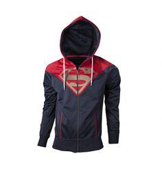 Men's Red And Navy DC Comics Superman Logo Zip Through Hoodie