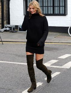 Black sweater dress with black over-the-knee boots... Check!
