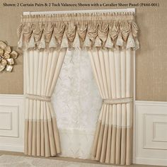Indulge in the look of luxury with the polyester faux silk Elegante Window Treatment. Specify Tuck Valance or Curtain Pair. Shabby Chic Kitchen, Shabby Chic Homes, Shabby Chic Style, Shabby Chic Decor, Ideas Armario, Rideaux Design, Valance Window Treatments, Window Coverings, Elegant Curtains
