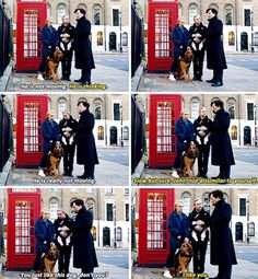 """Remember when they were all happy and cute with a dog? Sherlock S04 E01 """"The Six Thatchers"""". Season 4."""