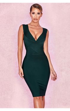 Womens Ladies Strappy Plunge V Square Neck Bralet Pencil Fit Bodycon Midi Dress