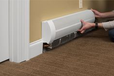 Easily replace your old baseboard covers. Baseboard Radiator, Baseboard Heater Covers, Baseboard Heating, Baseboards, Home Improvement Projects, Home Projects, Baseboard Styles, Home Thermostat, Radiator Cover