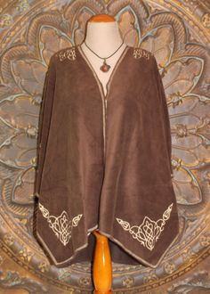 Poncho - Embroidered Brown Fleece Cape with Embroidered Celtic Design