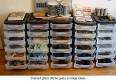Stained Glass Studio Spaces and Ideas For Making Cheap Tools Storage ideas for stained glass studio spaces. Includes lots of quick tips for making inexpensive tools that save you money