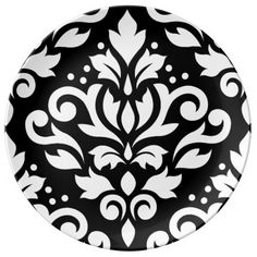 Scroll Damask Large Design White on Black Porcelain Plate