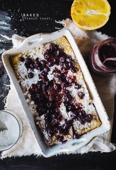baked baquette french toast with blueberry sauce