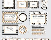 New Year's Eve Partie Kit - Menu Cards, Party Flags, Favor Tags and More - PRINTABLE