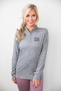 Monogrammed Space Dye Pullover Grey