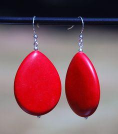 Handmade Sterling Silver earring, Red Howlite statement earrings. Howlite earrings, red earrings, red teardrop earrings, southwest earrings - pinned by pin4etsy.com