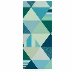 "Noonday Design ""The Triangle Blues"" Geometric Blue Luxe Rectangle Panel"