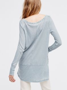 Star Thermal | Soft and comfy long sleeve thermal tee featuring cute stud details around the neckline. Distressing at the seams and bottom fabric with side vents creates a layered, lived-in look.