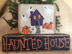 Primitive Country Haunted House Ghosts 2pc Halloween Shelf Sitter Wood Block Set #PrimtiveCountry