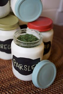 DIY Anthropologie-inspired chalkboard spice jars from baby food jars.