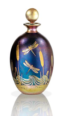 Dragonfly Perfume Bottle By Richard Golding - Hand Made Iridescent Cameo Glass