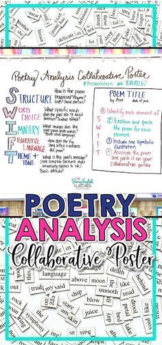 Poetry Analysis Collaborative Poster Project for Secondary ELA - Bildung Teaching Poetry, Teaching Literature, Teaching Reading, Middle School Ela, Middle School English, Ela High School, High Schools, 8th Grade English, Ap English