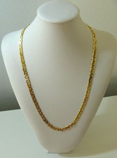 Yellow Gold Plated Necklace Mariner Link Chain 24in No Stone Womens Mens 9k  #Unbranded #Chainnecklace
