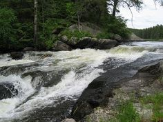 Rushing River Provincial Park near Kenora, Ontario. almost at the Manitoba border. I have been here numerous times. If drought season, water not flowing like this. Great Places, Places To See, Places Ive Been, Canada Travel, Canada Trip, Forest Waterfall, Honeymoon Packages, Peaceful Places, Quebec City