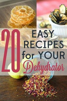 These 20 easy dehydrator recipes are quick to put together and will leave you wondering how you ever lived without this fun tool! Oh, and did I mention that they& also delicious? Jerky Recipes, Raw Food Recipes, Healthy Recipes, Muffin Recipes, Dehydrated Vegetables, Dehydrated Food, Veggies, Canning Food Preservation, Preserving Food