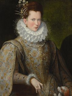 A lady by Lavinia Fontana, 1590's (private collection). #WomenArtists. Note upstanding hairpiece.