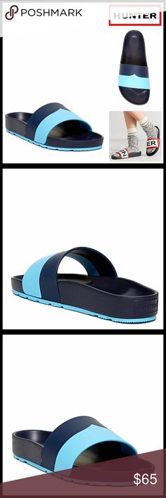 "HUNTER ORIGINAL SANDALS Flats Slides HUNTER ORIGINAL SANDALS Flats Slides  SIZING: True to size, whole sizes only, if between sizes order down, tagged size 7, fits sizes 7-7.5 MADE IN ITALY COLOR: Blue, Navy   ABOUT THIS ITEM * An amazing water resistant style! * Open toe * Wide colorblock strap vamp * Slip on * Molded contoured footbed  * High quality & well made  * Approx 0.75"" high heel & 0.5"" platform  MATERIAL EVA upper & sole ITEM# ❌NO TRADES❌ ✅BUNDLE DISCOUNTS ✅ OFFERS CONSIDERED (Via…"