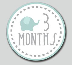 "PRINTABLE Monthly Onesie Circles. Baby Elephant. 4"" Round. DIY You Print. Make Stickers, Tags, Iron-On, Cards or use for Scrapbooking.....would have to find it in pink of course"