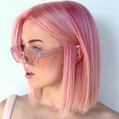 Pink Short Hair, Pastel Pink Hair, Hair Color Pink, Pastel Bob, Short Colorful Hair, Bright Hair, Purple Hair, Long Hair, Haircuts For Fine Hair