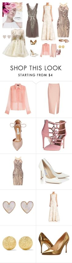 """""""Maryana"""" by marciabackermendes ❤ liked on Polyvore featuring M.A.C, Rochas, C/MEO COLLECTIVE, Steve Madden, Dennis Basso, Jimmy Choo, New Look, Aidan Mattox, Carolina Bucci and Sergio Rossi"""