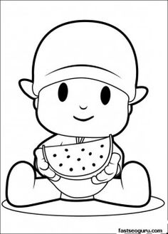 Printable coloring pages Pocoyo eating watermelon - Printable Coloring Pages For Kids