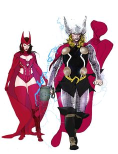 Thor and Scarlet Witch by Travel Foreman