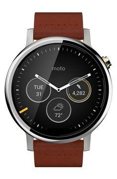 Motorola 'Moto 360 2nd Gen' Leather Strap Smart Watch, 46mm