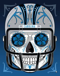 """Carolina Panthers"" Sugar Skull Day of the Dead Calavera Print Inspired by the professional football team"