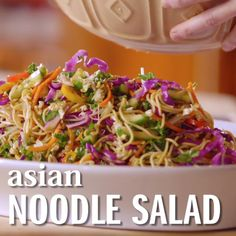 Thai Noodle Salad with Peanut Sauce- loaded up with healthy veggies and the BEST peanut sauce eeeeee Vegetarian Recipes, Cooking Recipes, Healthy Recipes, Healthy Foods, Cooking Food, Food Prep, Healthy Soup, Salade Healthy, Asian Noodles