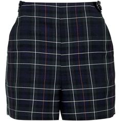 TOPSHOP Tartan Button Shorts (45.850 CLP) ❤ liked on Polyvore featuring shorts, navy blue, high rise shorts, highwaist shorts, topshop shorts, highwaisted shorts and navy blue high waisted shorts
