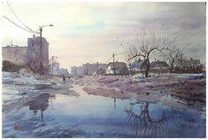 by Maksim Kiseliov Watercolor Landscape, Watercolour, Land Scape, Still Life, Ukraine, Portrait, Architecture, Artwork, Instagram
