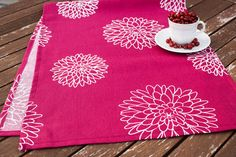 Dark redTable Runner, Handmade Dining Supplies, Rustic Country Style, White flowers,Dark red Table Cloth,Home Textiles by YourHomeMarket