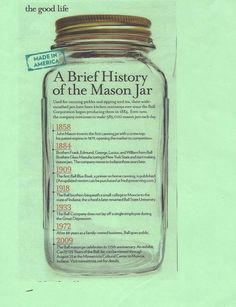 A Breif History of the Mason Jar Ball Canning Jars, Ball Mason Jars, Mason Jar Gifts, Mason Jar Diy, Mason Jar Glasses, Antique Glass Bottles, Bottles And Jars, Glass Jars, Clear Glass