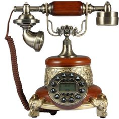 New Year Gift Brown Antique Push Button Cord Phone Retro Vintage Home Telephone