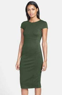 Green modest pencil dress