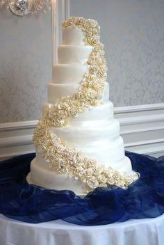 8 tier White Chocolate Rose Cascade