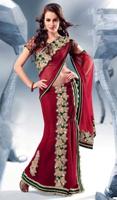 G3 Fashions Maroon Faux Georgette Embroidered Wedding Lehnga Saree  Product Code : G3-LS7073 Price : INR RS 5096
