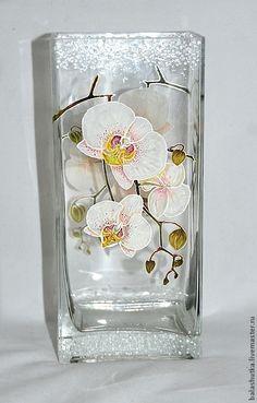 """Купить Ваза """"Орхидеи"""" - орхидеи, цветы, подарок, подарок на 8 марта, Роспись по стеклу"""