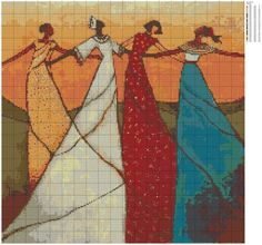 0 point de croix femmes en robe longue - cross stitch ladies in long dresses