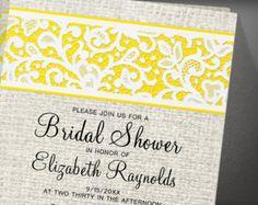 Black Gold Rustic Country Burlap Linen Bridal Shower Invitation