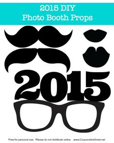 Make this New Year& memorable with a 2015 photo booth printable set. Cut on stiffened felt or cardboard for a festive set of photos. New Years Eve has never been so much fun! Diy Photo Booth Props, Party Props, Party Ideas, Gift Ideas, Graduation Celebration, Graduation Photos, Grad Parties, Photo Craft, New Years Eve