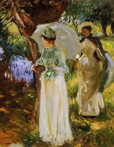 John Singer Sargent (American expatriate artist, 1856-1925) Two Girls with Parasols at Fladbury