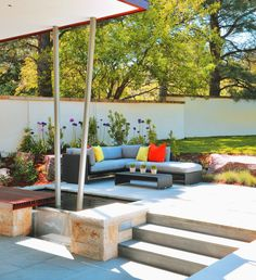 Boulder, Colorado, patio, steel support columns, water feature, patio waterfall. ARCHITECTURE by Arch 11 PHOTO by Michael Shopenn MORE AT http://www.mountainliving.com/article/open-house-0