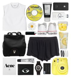 """""""Untitled #388"""" by ffffab ❤ liked on Polyvore featuring Cowshed, Proenza Schouler, H&M, Marc by Marc Jacobs, Martha Stewart, Fuji, Converse, Forever 21, Korres and Monki"""