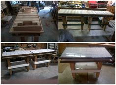 Two bar tables made from one pallet, on castors for mobility. With drawers on each end. Submitted by: jmpllc !